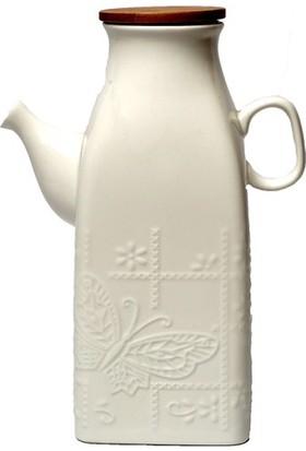 Akan Bambu Kapaklı Kare Porselen Sütlük Yağlık