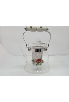 Unev Beyaz Porselen Saplı Çiçek Desenli Cam Demlik