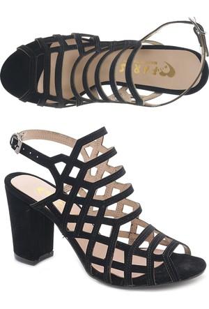 OC Siyah Nubuk Kafes Model Topuklu Bayan Ayakkabı