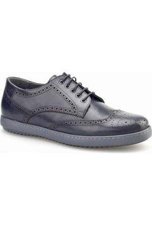 Cabani Bağcıklı Günlük Erkek Ayakkabı Lacivert Antik Deri