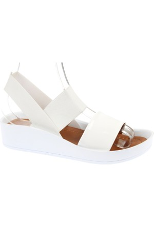 Shalin Kalın Taban Kadın Sandalet - Szr 23650 Beyaz Rugan
