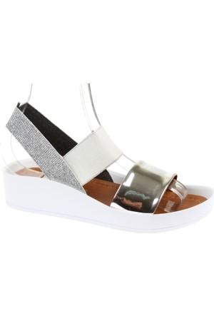 Shalin Kalın Taban Kadın Sandalet - Szr 23650 Gümüş