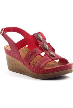 Jump 14879 Günlük Anatomik 6,5 cm Topuk Bayan Sandalet Ayakkabı