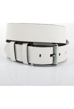 DeepSEA Beyaz Desenli Kalın Tokalı Spor Erkek Kemer 1701356-001