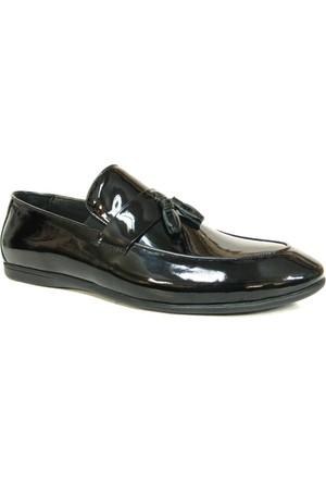 Punto 680055 Siyah Rugan Püsküllü Bağcıksız Erkek Ayakkabı