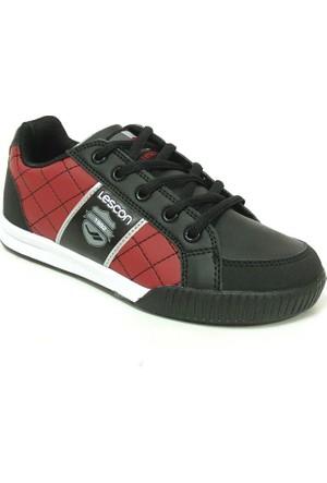 Lescon Siyah Bordo Bağcıklı Çocuk Spor Ayakkabı