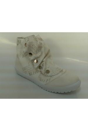 Sonimix Beyaz Renk Boğazlı Kanvas Unisex Spor Ayakkabı