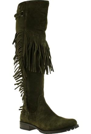 Venüs 1704107 Püsküllü Fermuarlı Yeşil Kadın Çizme
