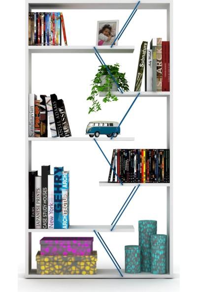 Rafevi Tars Kitaplık (Beyaz-Mavi)