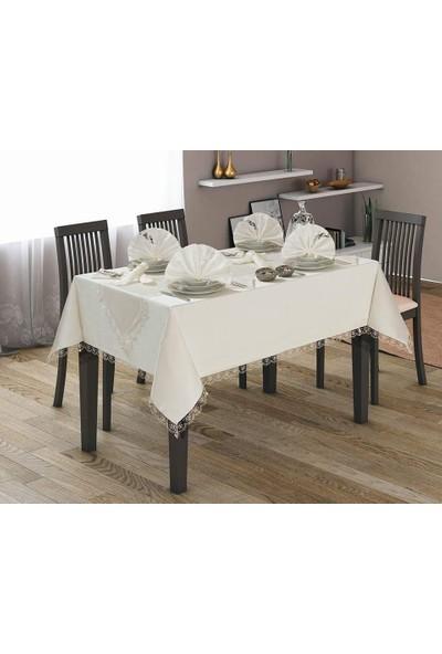Apakay Fransız Güpürlü Kdk Kumaş 160 x 220 Cm Masa Örtüsü - Beyaz