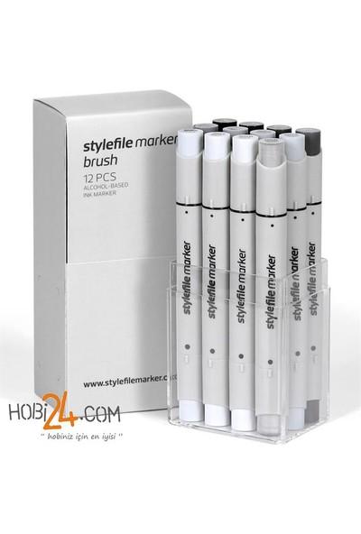 Stylefile Marker Brush 12'Li Neutral Grey Set