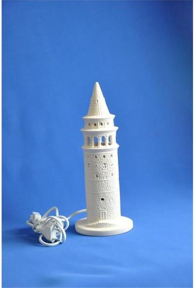 Seramik Obje Galata Kulesi Küçük Abajur 11,5X30 Cm