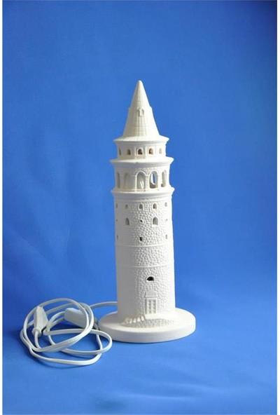 Seramik Obje Galata Kulesi Büyük Abajur 14X35 Cm