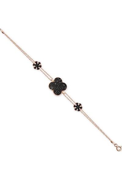 Alışverişrengi 925 Ayar Siyah Zirkon Taşlı Çiçek Bileklik
