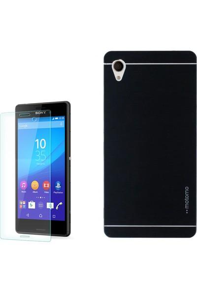 Gpack Sony Xperia T3 Kılıf Sert Arka Kapak Motomo Kılıf +Cam