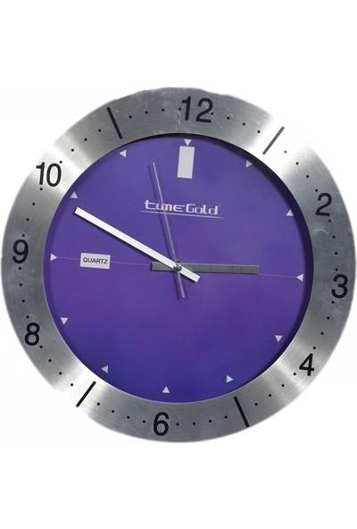 Time Gold Duvar Saati Aliminyum Çerçeve Çap 36 cm