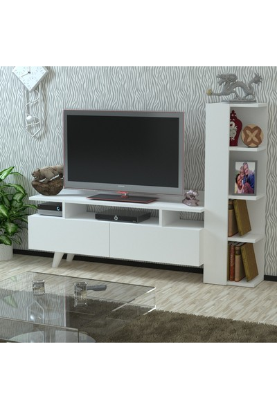 Kalender Dekor Saruman TV Sehpası (Beyaz)