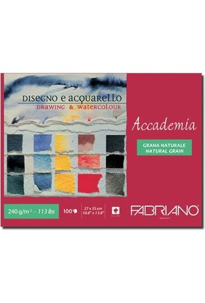 Fabriano Accademia, Natural Dokulu Beyaz, Üst Kenarından Yapışkanlı Blok, 240Gr., 27X35Cm