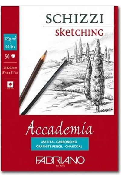 Fabriano Accademia, Natural Dokulu Beyaz, Üst Kenarından Yapışkanlı Blok (Schizzi), 120Gr., 29,7X42Cm