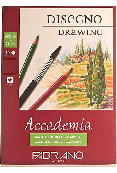 Fabriano Accademia, Natural Dokulu Beyaz, Spiralli Blok (Disegno), 200Gr., 21X29,7Cm