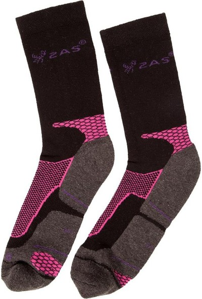 2AS Coolmax Koton Trekking Çorap Siyah / Pembe