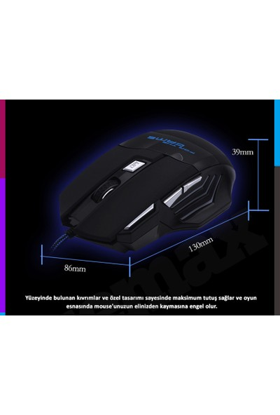 Azemax M6 3200DPİ Oyuncu Kablolu Mouse