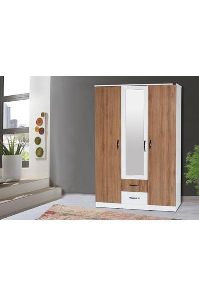 Hepsi Home Zenit Aynalı 3 Kapaklı 2 Çekmeceli Gardırop - Ceviz Beyaz