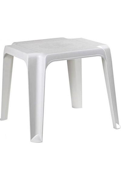 Sevimliev Beyaz Plastik Şezlong Sehpası 43 cm