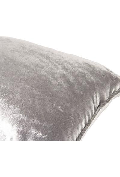 Classic Velvet Yastık Kılıfı Biyeli Silver 50X30