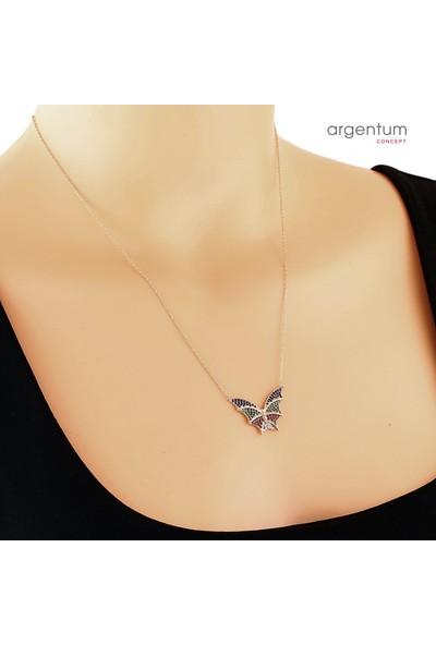 Argentum Concept Zirkon Taşlı Gümüş Renkli Kelebek Kolye
