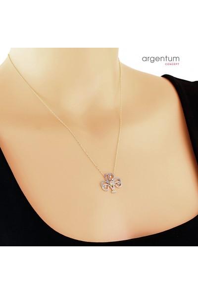 Argentum Concept Zirkon Taşlı Gümüş Çiçek Formlu Kolye