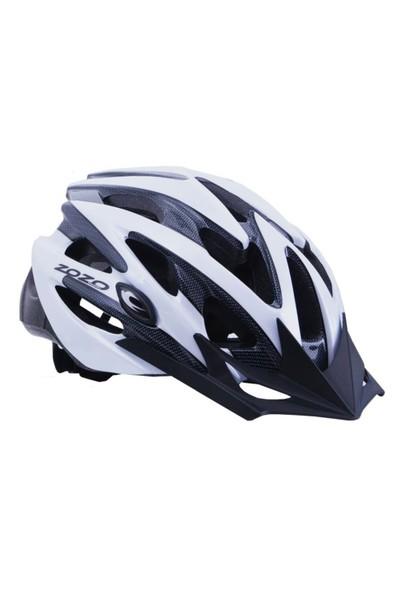 Zozo Mv29 Işıklı Yetişkin Bisiklet Kaskı Siyah/Beyaz