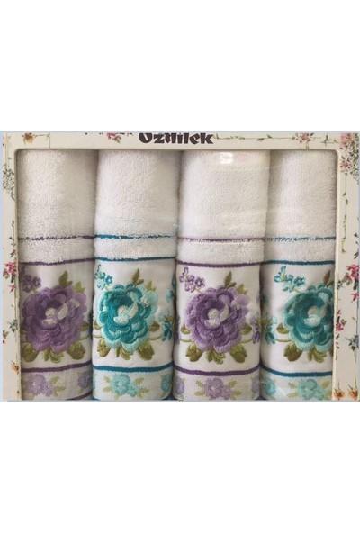 Özdilek Viola 4Lü Nakışlı Mint Lila Havlu Seti