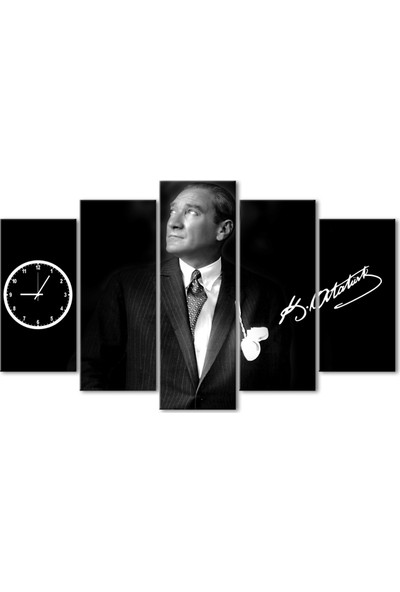 Özverler Atatürk 5 Parça Saatli Kanvas Tablo