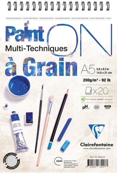 Clairfontaine Paint'On Resim Defteri A5 Telli 200 Gr 20 Yp