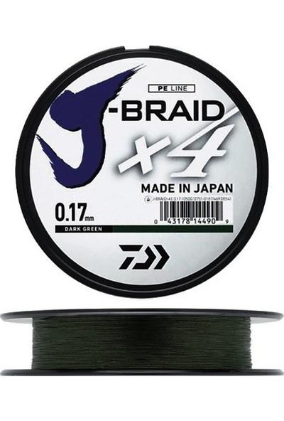 Daiwa J-Braid 4 Kat 270mt Koyu Yeşil Örgü İp Misina 0,15 mm