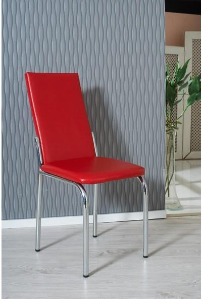 Gözde Düz Kırmızı Deri Giydirme Sandalye Çelik Krom