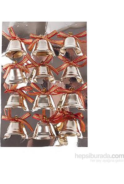 KullanAtMarket Minik Altın Çanlar Yılbaşı Ağaç Süsü 12 Adet