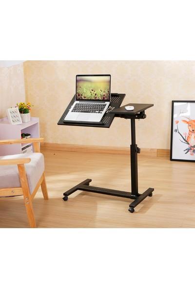 Hodbehod Eğim Ve Yükseklik Ayarlı Tekerli Mouse Bölmeli Laptop Sehpası