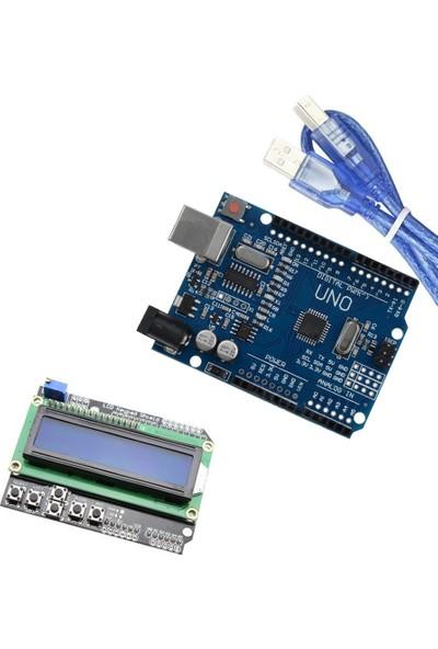 Set Arduino İkili Set (Klon Arduino Uno R3 CH340 Çip + LCD Keypad Shield)