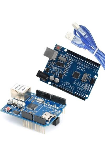 Set Arduino İkili Set (Klon Arduino Uno R3 CH340 Çip + Klon W5100 Ethernet Shield)