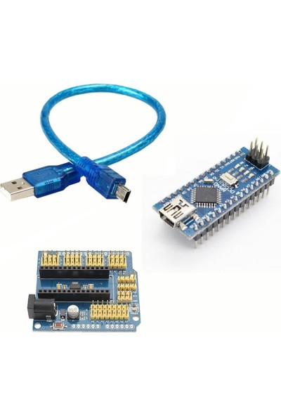 Set Arduino İkili Set (Klon Arduino Nano CH340 Çip + Arduino Nano Proto Shield)