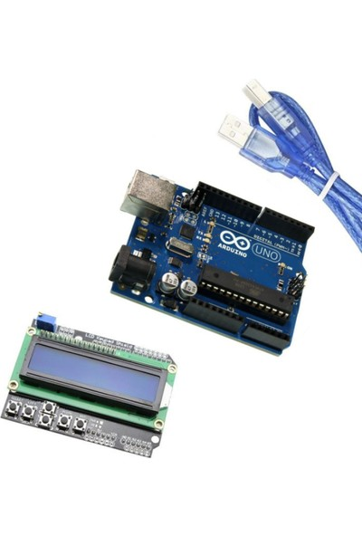 Set Arduino İkili Set (Klon Arduino Uno R3 Çip + LCD Keypad Shield)