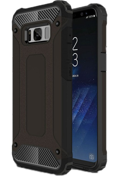 Coverzone Samsung Galaxy S8 Plus Kılıf Zırh Shockproof Siyah + 3D Araç Kokusu
