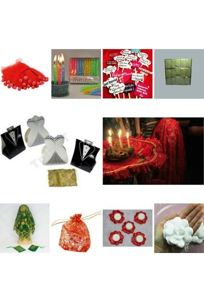 Evsay Kına Malzemeleri Kırmızı Kaftan Kına 1001 Parça Kına Gecesi Seti