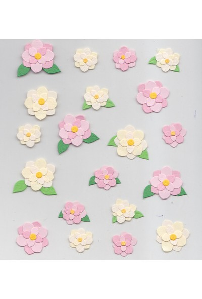 Coccomell El Yapımı Dekor Sticker Çiçek Beyaz Pembe