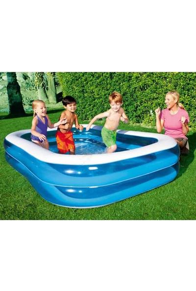 Bestway Dikdörtgen Şişme Aile Havuzu 201 x 150 x 51 Cm + Şişirme Pompası 54005