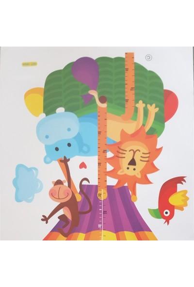 BigWall Neşeli Hayvanlar Balonu Cetvelli Duvar Stickeri Aslan ve Arkadaşları Boy Ölçen Mezure Sticker