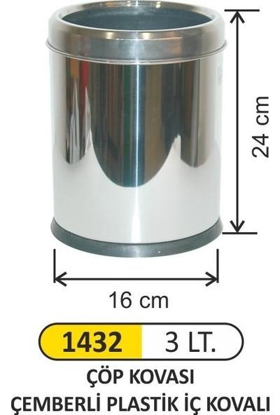 Arı Metal Ofis Tipi İç Kovalı Çemberli Paslanmaz Çöp Kovası 3 L 1432