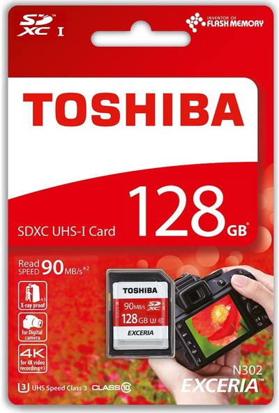 Toshiba 128GB SDXC UHS-1 C10 U3 90MB/sn (Exceria)